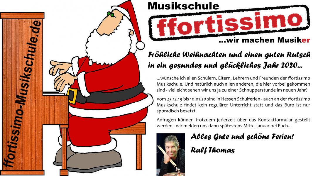 Frohe Weihnachten wünscht die ffortissimo Musikschule